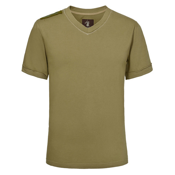 Mens Summer Outdoor Casual Sport Hiking Tops Tees V-neck Loose Cotton Training T-shirt