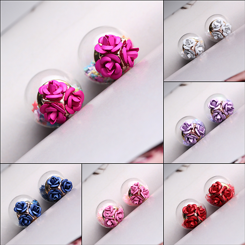 Trendy Colorful Glass Ball Stars Ear Stud Flower Earrings