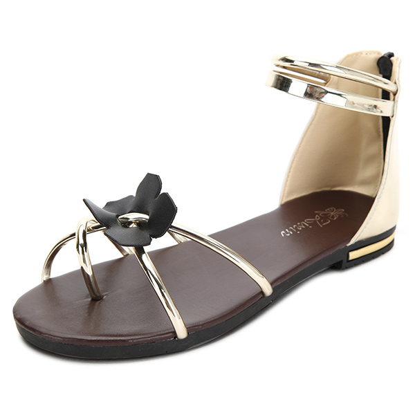 Women Summer Chic Beach Sandals Flower Zipper Flat Sandals Peep Toe Sandals