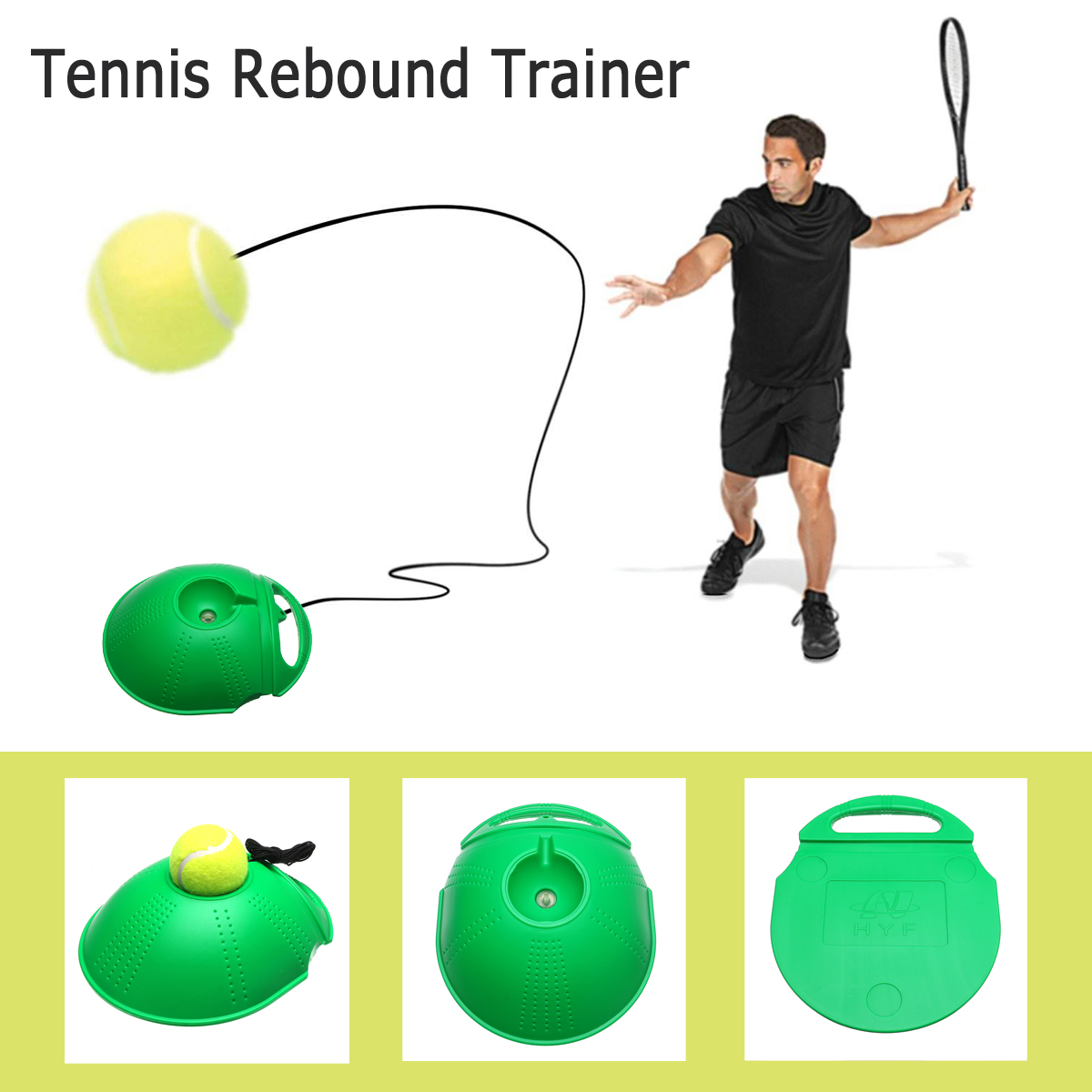 Tennis Training Tool Rebound Trainer Self-study Exercise Ball Baseboard Holder