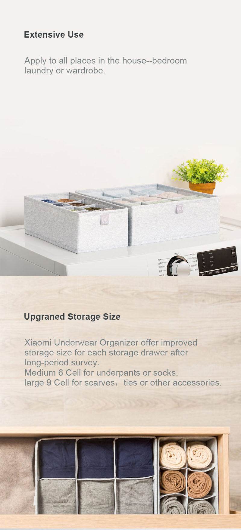 Original Xiaomi Mi Home 2PCS Underwear Storage Box Foldable Bra Sock Underwear Drawer Organizer Closet Storage Boxes Dividers