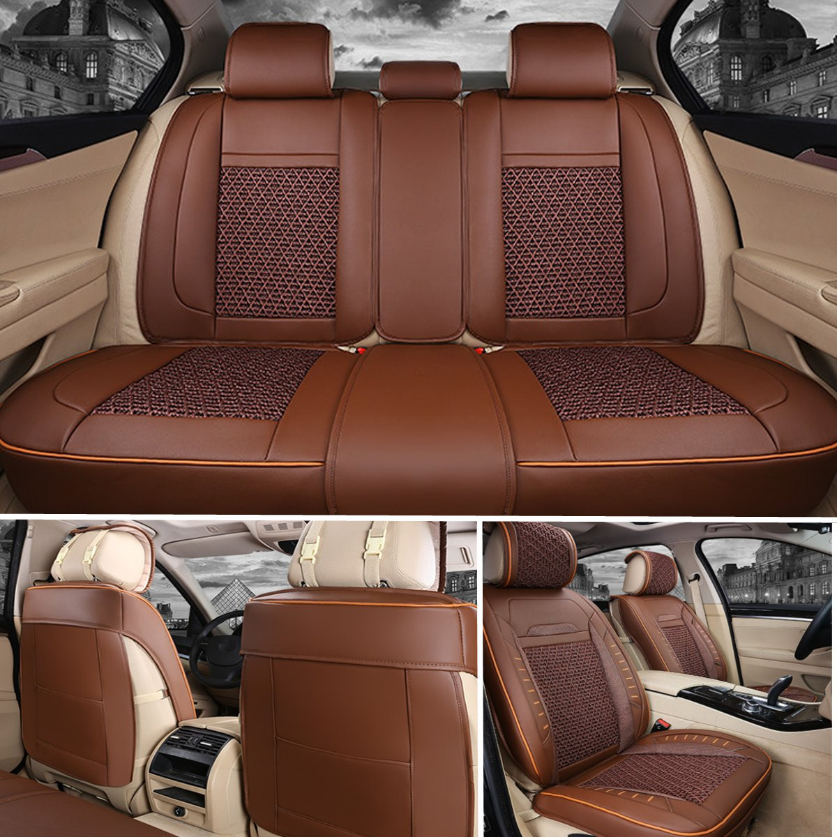 PU Leather Car Seat Cover Full Surround Bamboo Charcoal Cushion Set for 5-Seat Car