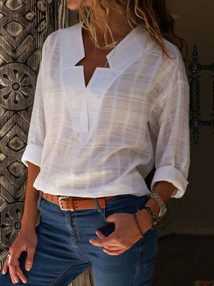 Women Long Sleeve V Neck Casual Loose Blouse