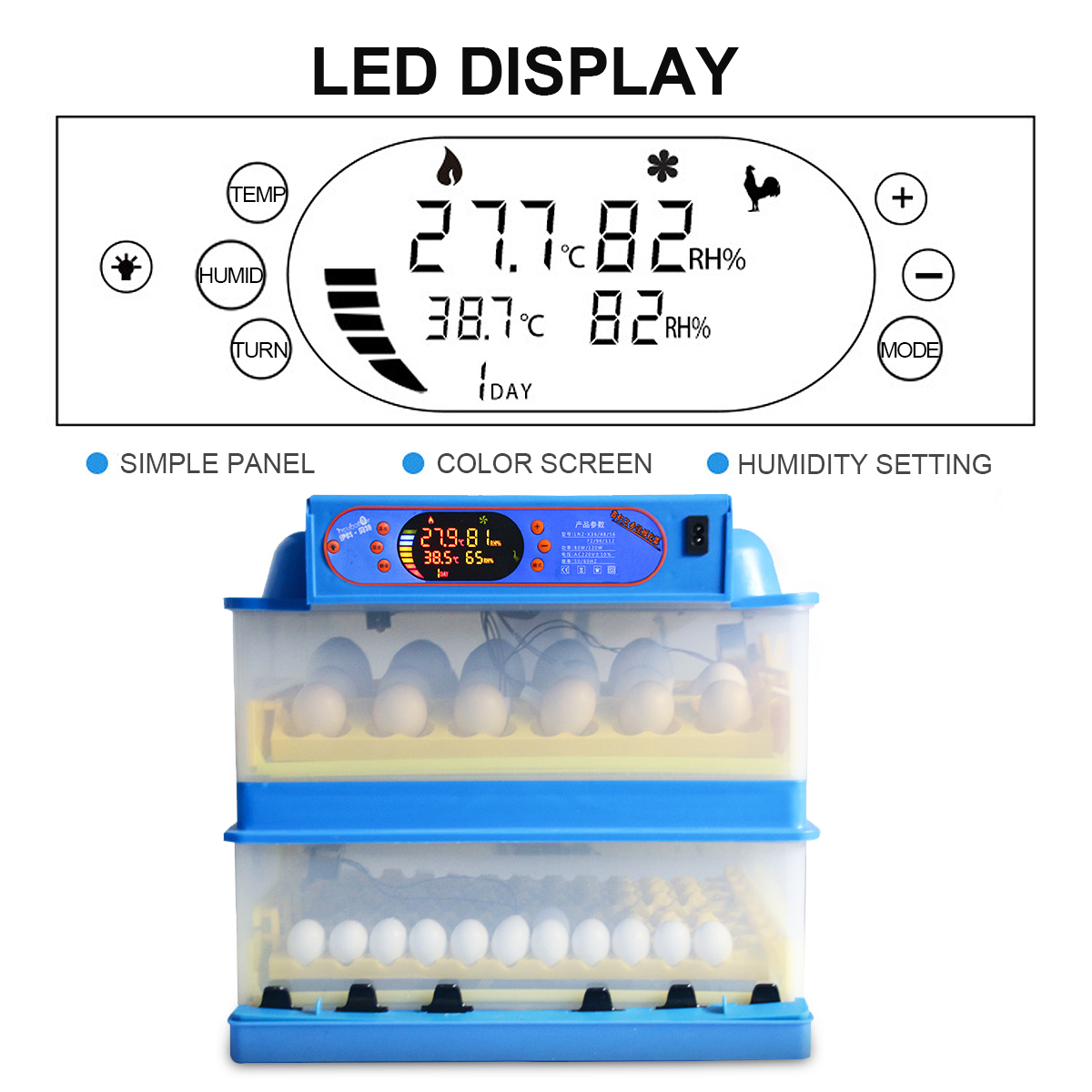 220V 112 Position Eggs Automatic Incubator LED Egg Incubator Poultry Hatcher