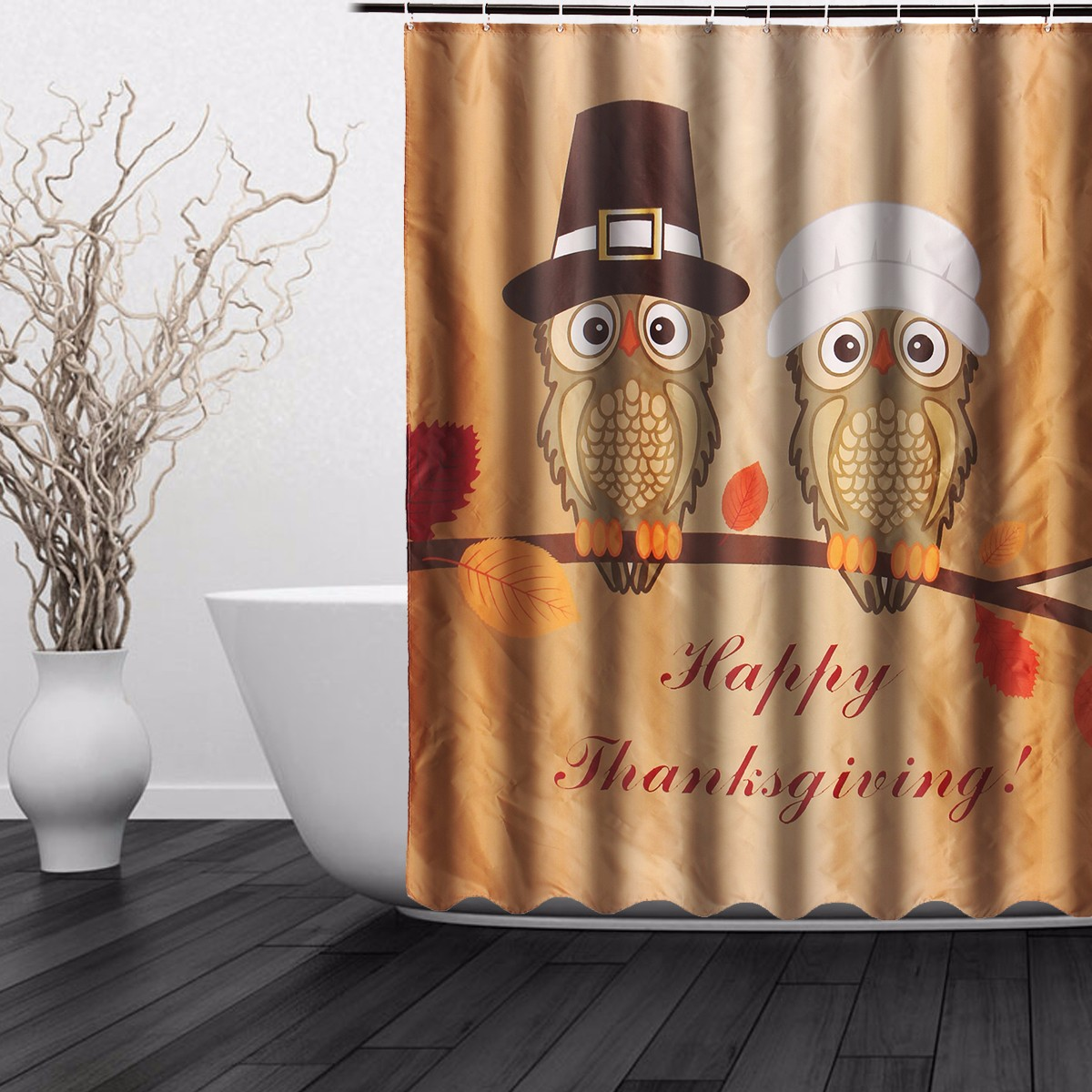 150x180cm Happy Thanksgiving Waterproof Shower Curtain