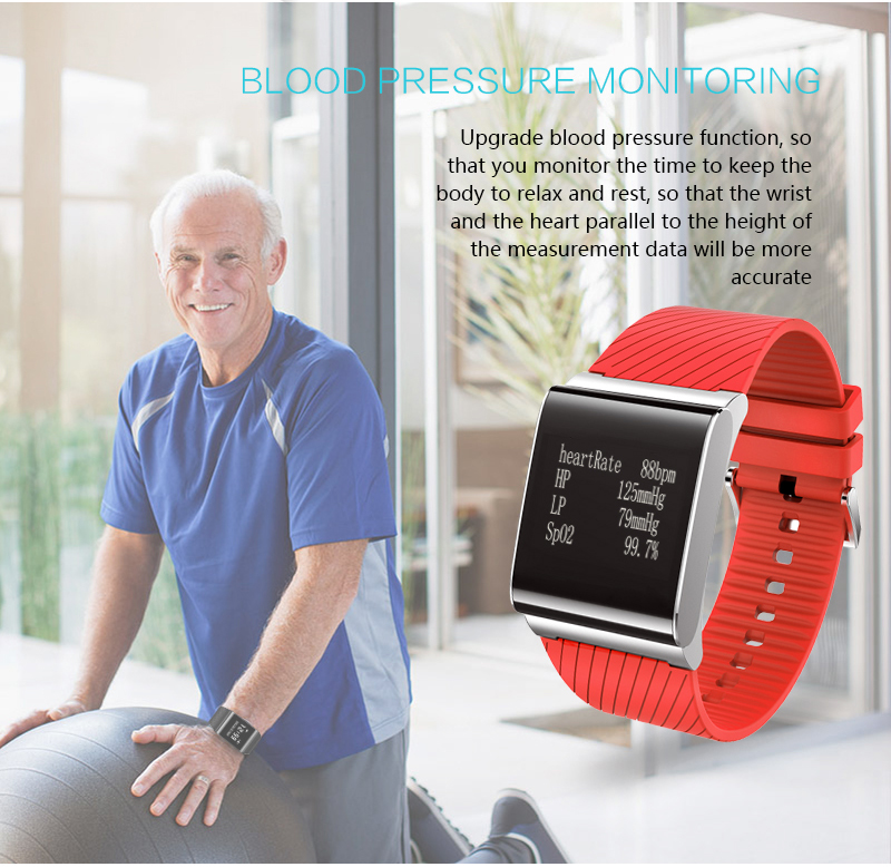 Bakeey X9 Plus Blood Pressure Oxygen Heart Rate Monitor bluetooth Smart Wristband For iOS Android