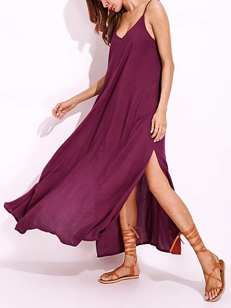 Sexy Women Pure Color Straps Hem Slit Dress