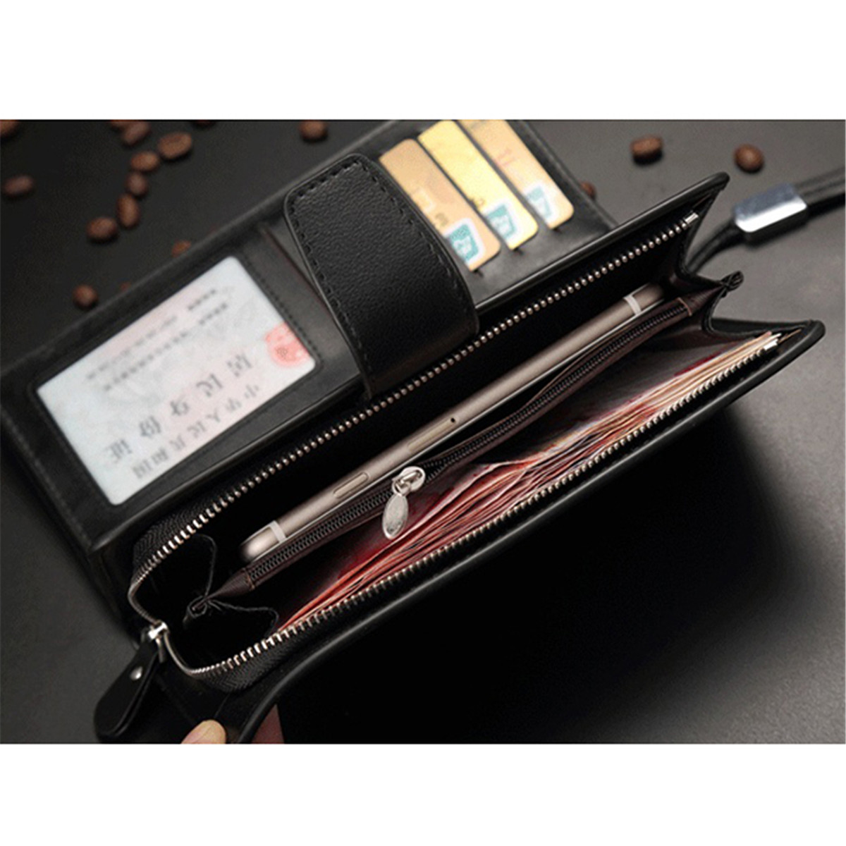 Men Leather Business Long Wallet Credit Card Organizer