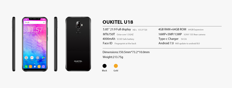 fed97604261 oukitel u18 5.85 inch hd+ 21 9 notch full display 4000mah face ...