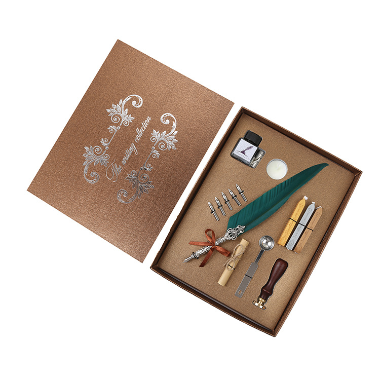 SP038 1 Set Retro Vintage Calligraphy Feather Dip Pen Writing Ink Set Stationery Quill Fountain Pen Creative Vintage Pen Gift for Friends Family