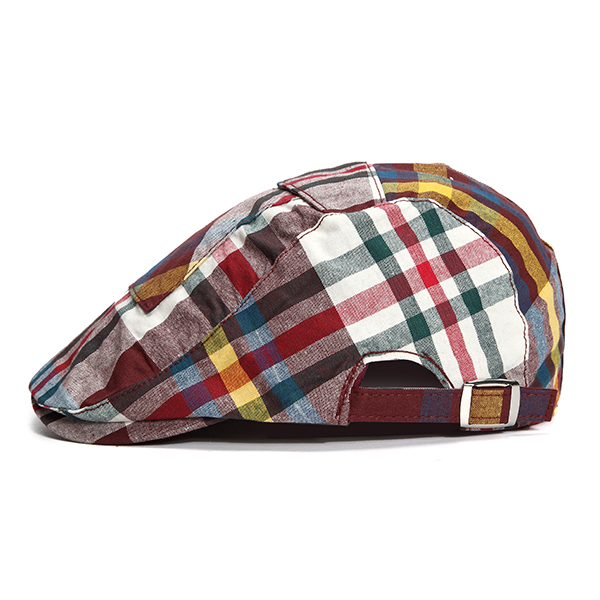 Unisex Men Cotton Lattice Pocket Design Beret Hat Casual Adjustable Plaid Flat Caps