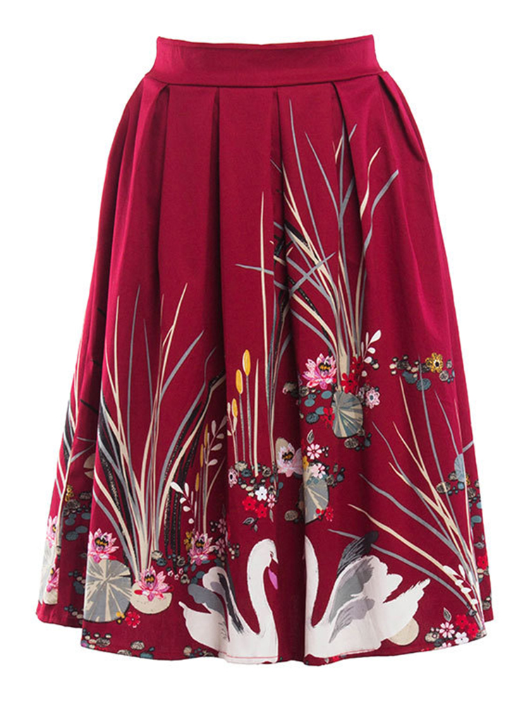 Elegant Printed Pleated Loose Women Vintage Long Skirts
