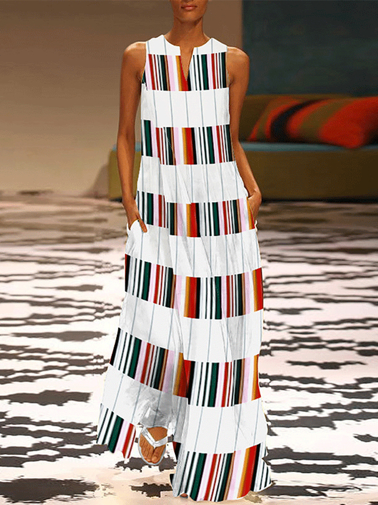 S-5XL Women Sleeveless Stripe O-neck Floral Maxi Dress