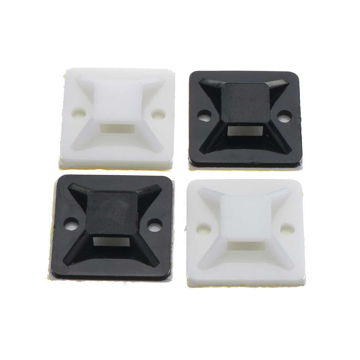 100Pcs/Pack 20x20mm Self-Adhesive Zip Tie Cable Wire Mounts Clamps Wall Holder