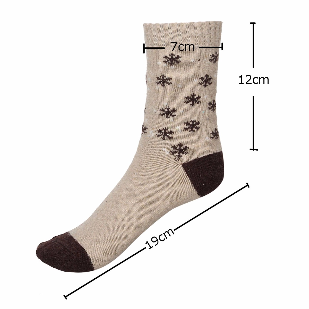Women Ladies Snowflake Design Woolen Thermal Extra Thick Hiking Boot Socks