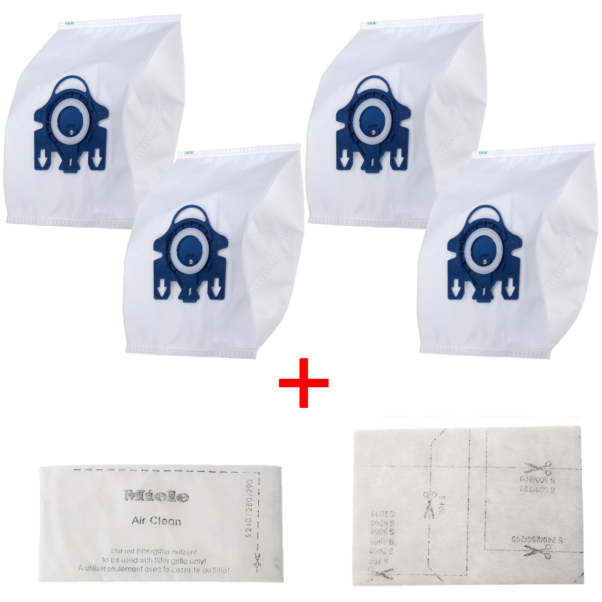 4Pcs Efficiency Vacuum Cleaner Hoover Dust Bags + 2Pcs Dust Collector Filter For Miele GN Hyclean