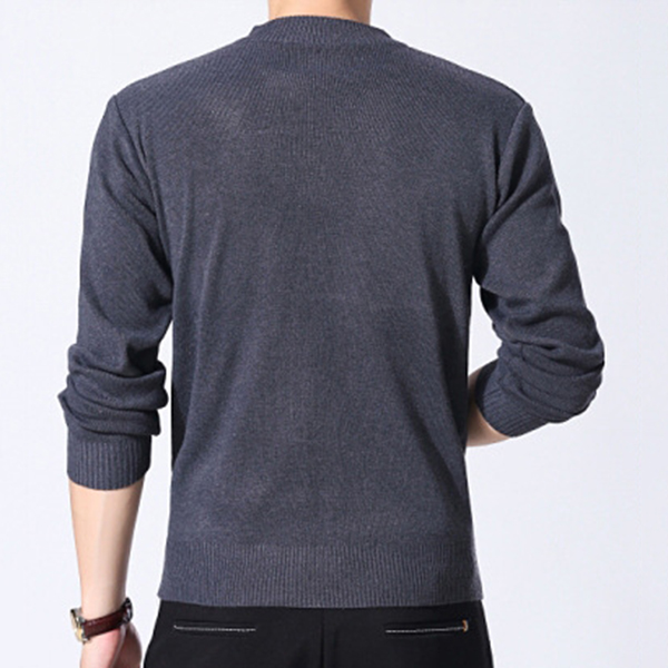 Mens Classic Long-sleeved Round Neck Sweater Simple Fashion Casual Sweater