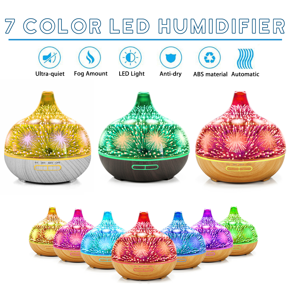 3D Aromatherapy Essential Oil Diffuser Mist Humidifier with Changing Starburst LED lights Wood