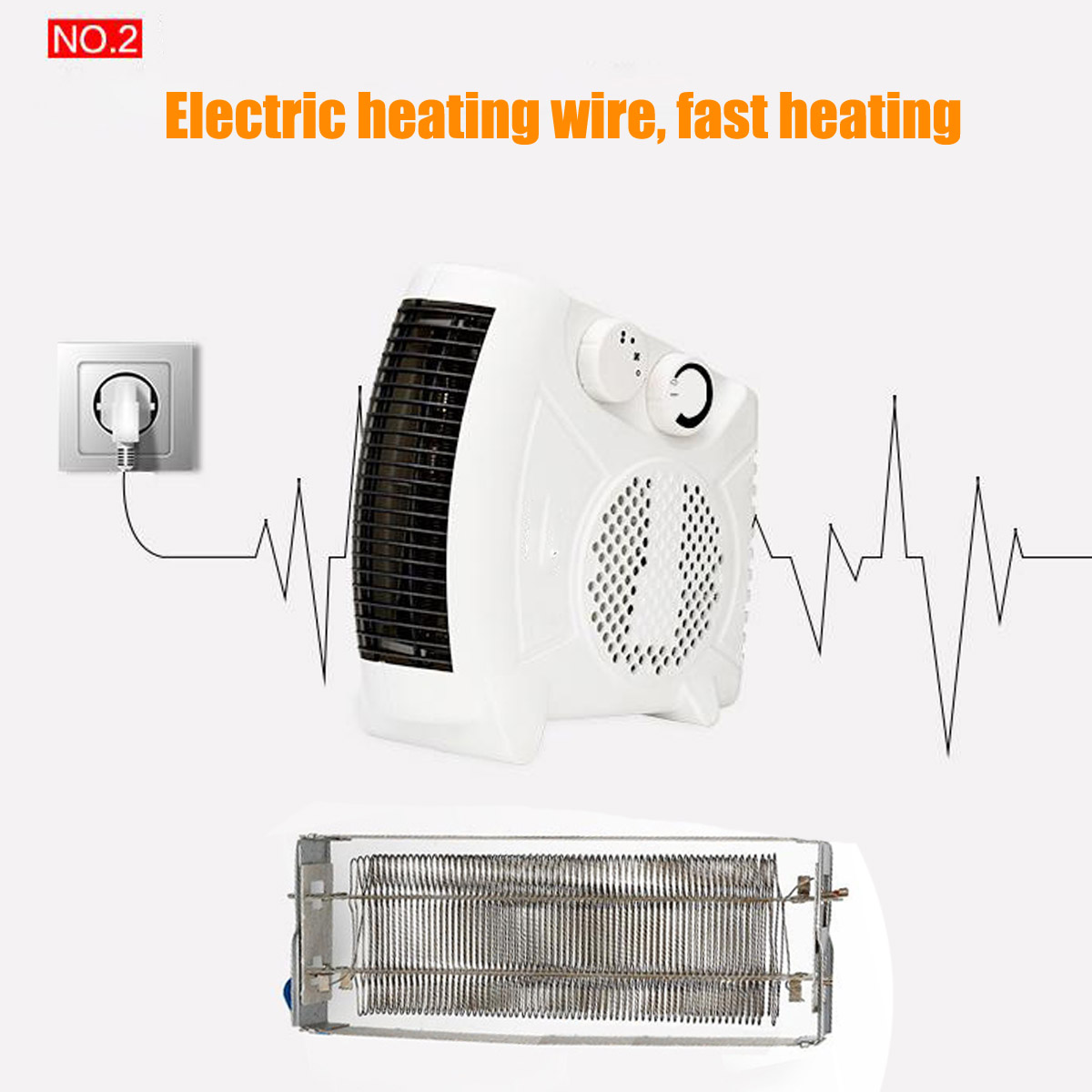 1450W Small Portable Electric Air Heater Warmer Fan Home Office Caravan Winter