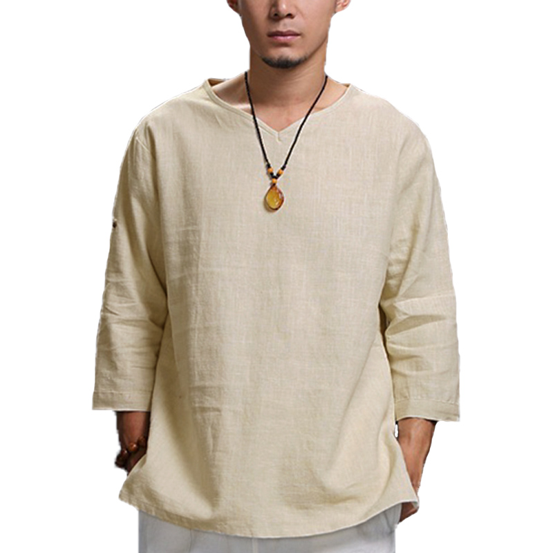 Mens Vintage Chinese Style Solid Color Casual Loose Tops