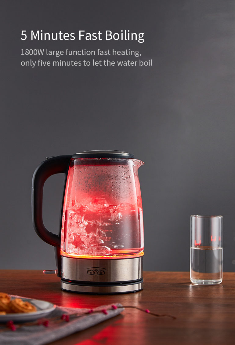 TOPCREATING DK450 1.7L / 1800W Stainless Steel Glass Kitchen Electric Water Kettle Temperature Color Light Display Electric Kettle From Xiaomi Youpin
