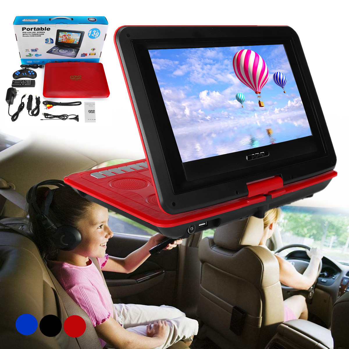 10.2 Inch TFT LCD Screen Portable Recharge TV Reciever Car DVD Player
