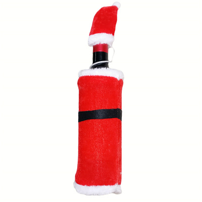 New Christmas Decoration Red Wine Bottle Covers Holder Clothes With Santa Claus Hats Home Party New Year Gift Decoration