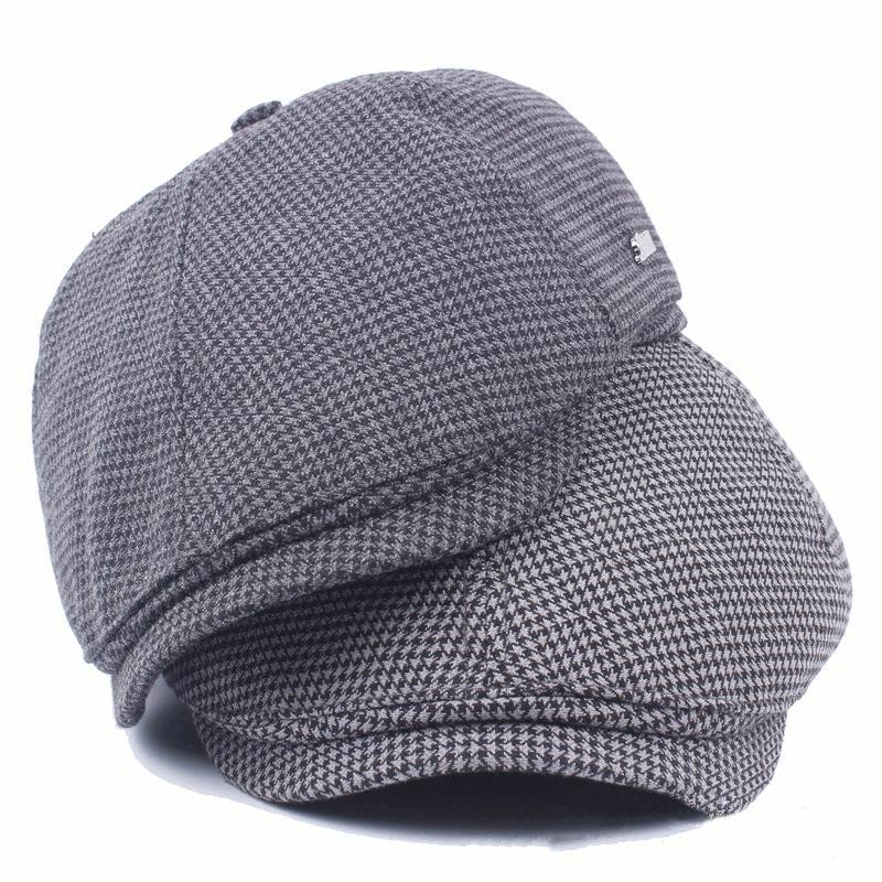 Mens Women Cotton Grid Beret Caps Outdoor Adjustable Paper Boy Newsboy Cabbie Gentleman Cap