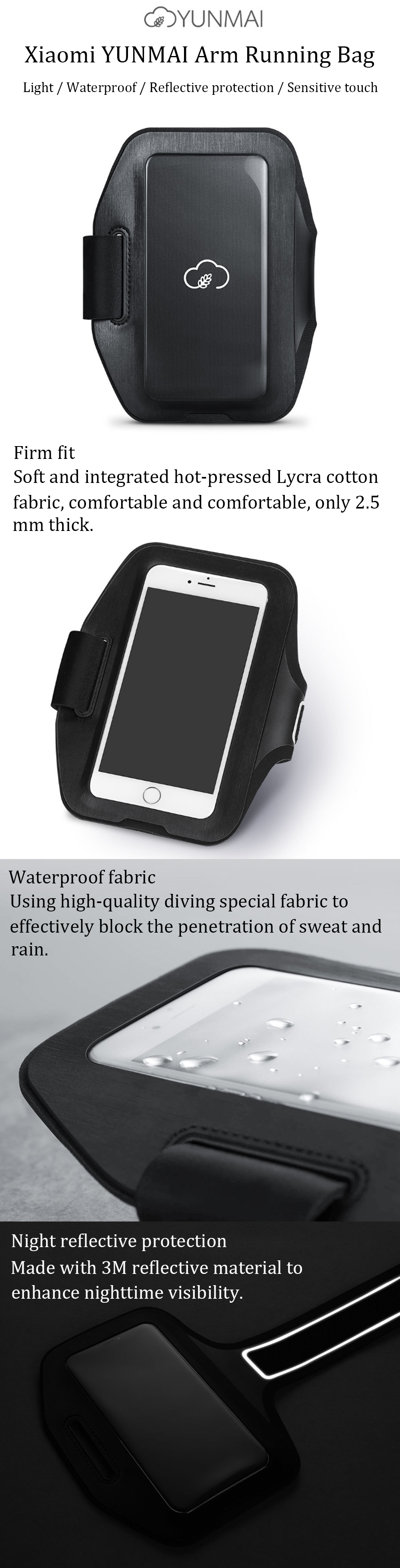 Xiaomi YUNMAI 6 Inch Waterproof Arm Bag Phone Holder Outdoor Sports Running Reflective Pouch For iPhone X