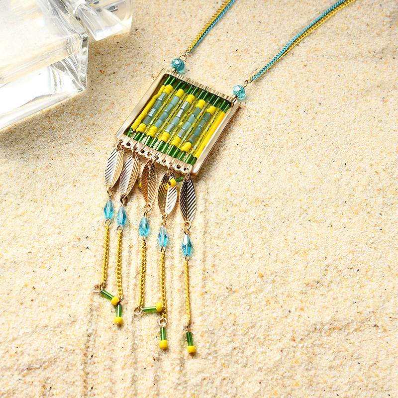 Women's Bohemian Long Necklace Charm Tassel Multicolor Quartz Beads Necklace