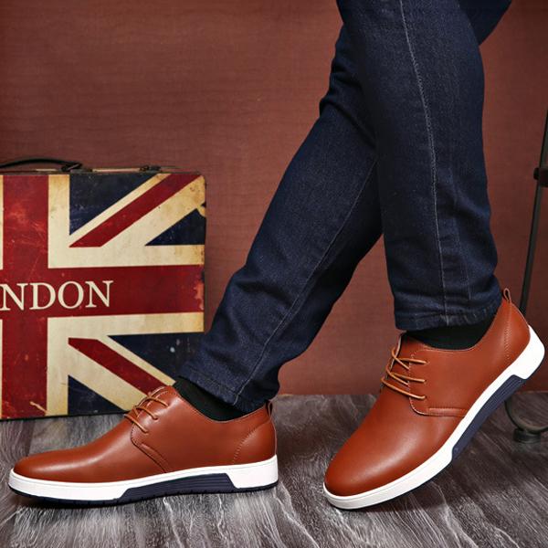Men Leather Round Toe Oxfords Sneaker