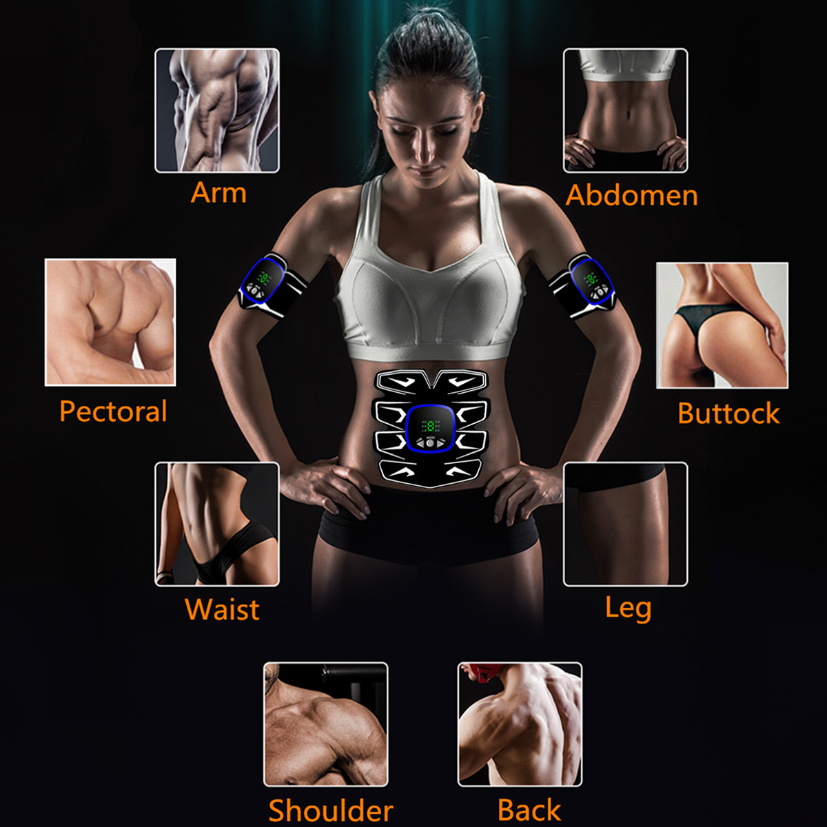 KALOAD LCD Display USB Charging Abdominal Muscle Trainer ABS Body Shaping Stimulator