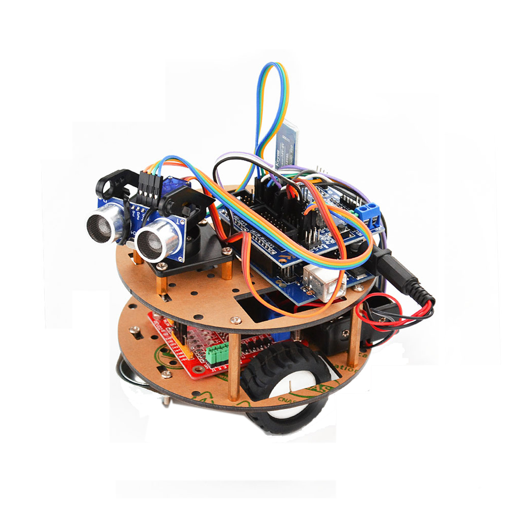 Double Layer Round Plate Smart Robot Car with bluetooth Wireless Control Learning Kit for Arduino Support Tracking/Ultrasonic Obstacle Avoidance