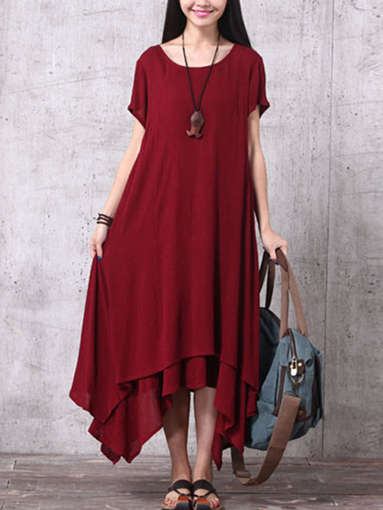 Women Pure Color Irregular Dress