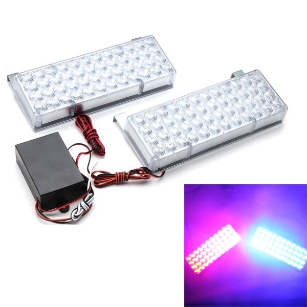 96LED Car Strobe Light Front Bar Auxiliary Light Grille Fog Security Booth Light 3 Flashing Modes