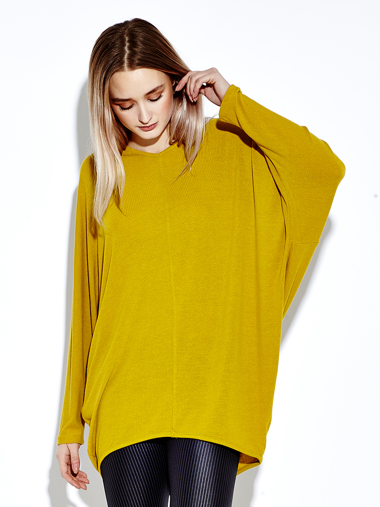 Yellow Women Bat Sleeve V-neck Loose Casual Mini Dresses
