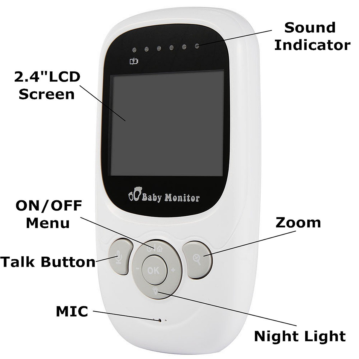2.4inch 2.4G Wireless Baby Digital Audio Video Monitor Camera Night Vision Viewer Two-way Talk Temperature Monitor
