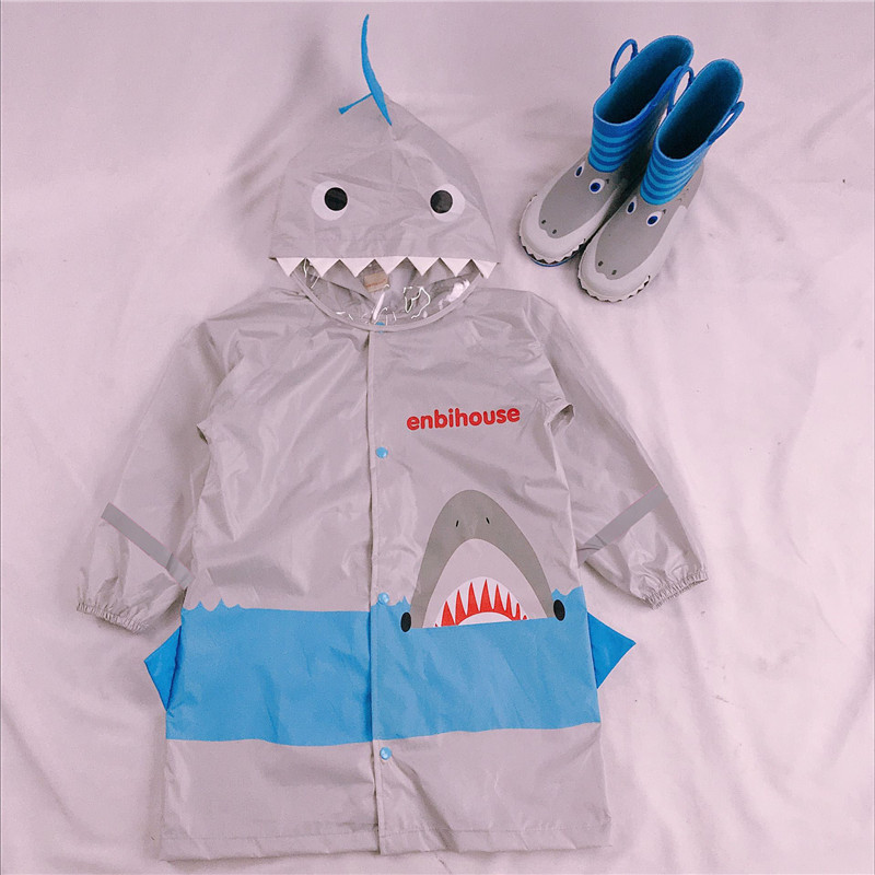 BIKIGHT Cute Cartoon Shark Waterproof Nylon Rain Coat Rainwear Rainsuit Kids Boy Children Girls Windproof Poncho Student Baby Raincoat