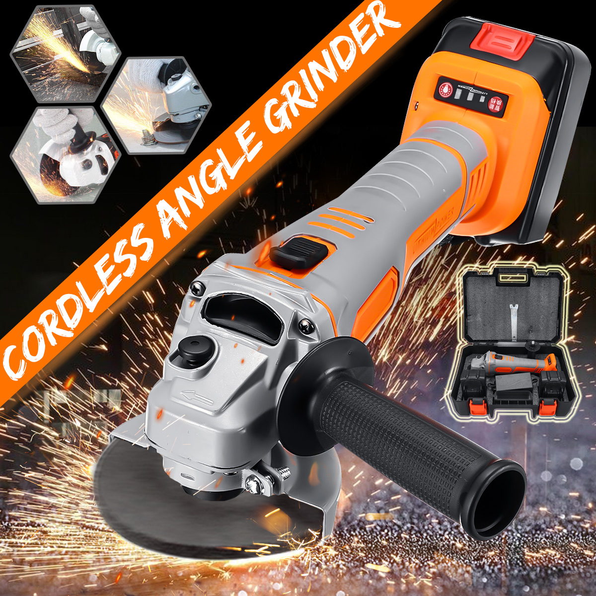 Lithium Battery Electric Angle Grinder Electric Grinding Machine Cordless Polishing Machine Cutting Tool