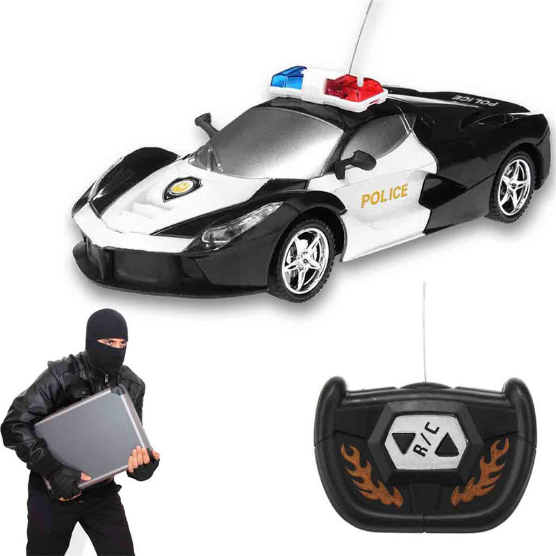 1/24 2 Channel Wireless Remote Control RC Police Car Truck Kids Toy Gift