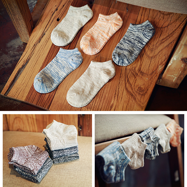 5 Pairs Mens Multicolor Invisible Cotton Boat Socks Casual Short Tube Socks