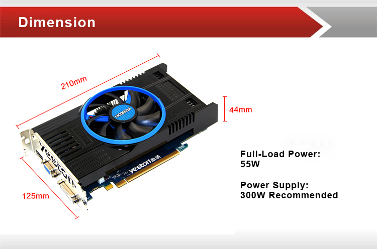 Yeston R7750 1GD5 TC 1024M 128Bit GDDR5 800MHz/4000MHz Gaming Video Graphics Card