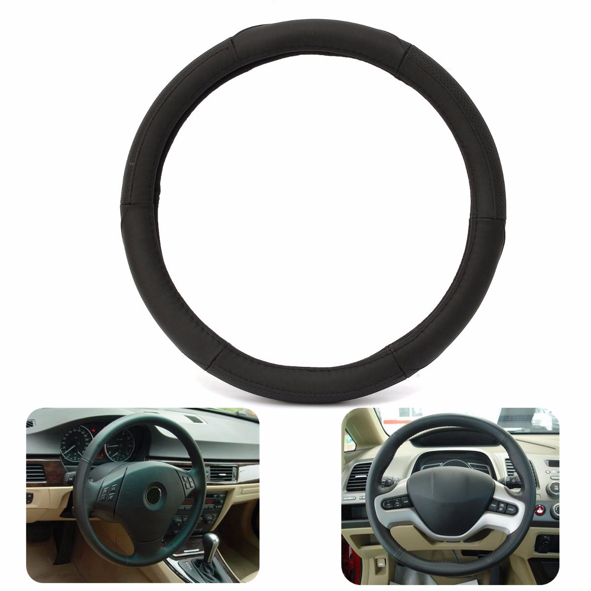 38cm Black Leather General Steel Ring Wheel Cover Medium For Volkswagen Honda