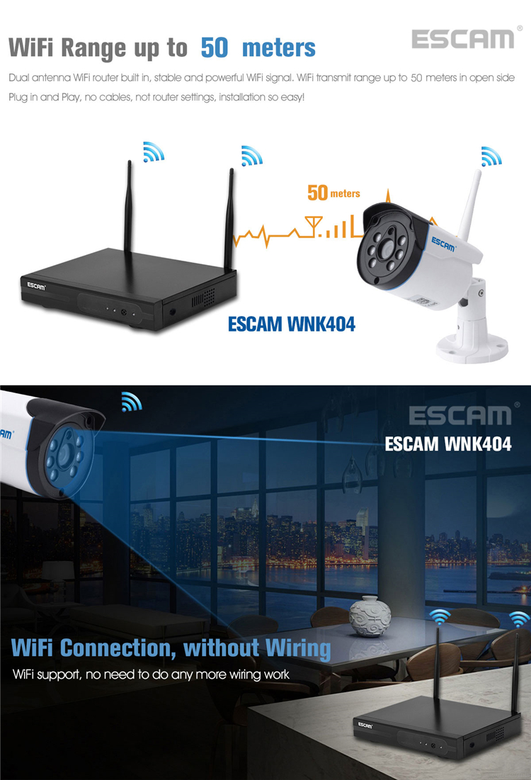 ESCAM WNK404 4CH 720P Outdoor IR Video Wireless Surveillance Security IP Camera CCTV NVR System Kit