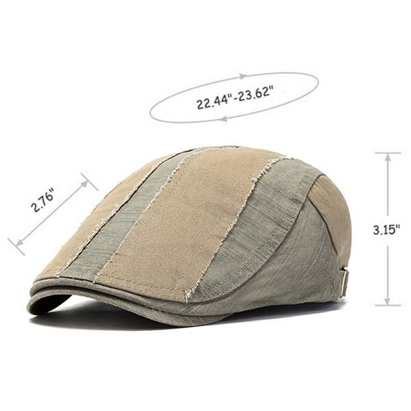 Mens Washed Cotton Patchwork Adjustable Beret Hat