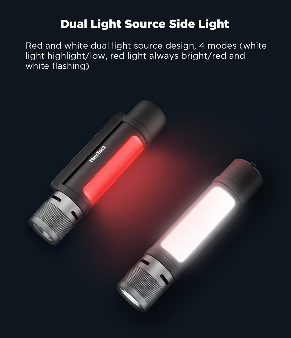 [FROM XIAOMI YOUPIN] NEXTOOL 6-in-1 1000lm Dual-light Zoomable Alarm Flashlight USB-C Rechargeable Mobile Power Bank Magnetic Camping Work Light