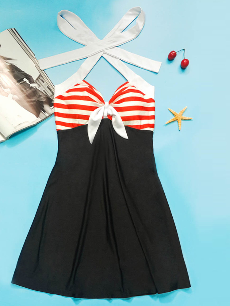 Halter Stripes Backless Beach Bathing Suit Women Swimdress