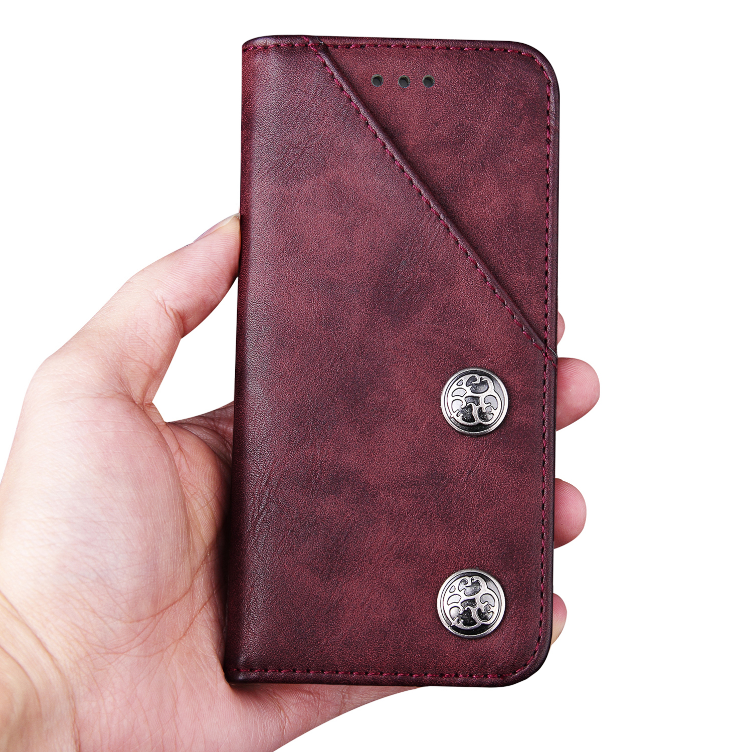 PU Leather Flip Card Slot Stand Holder Bronze Wallet Back Cover Cases for Samsung Galaxy S8 Plus