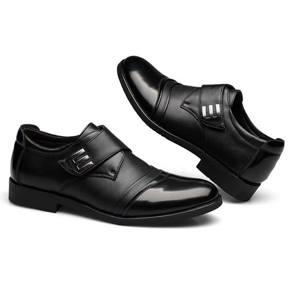 Men Hook Loop Genuine Leather Formal Business Shoes