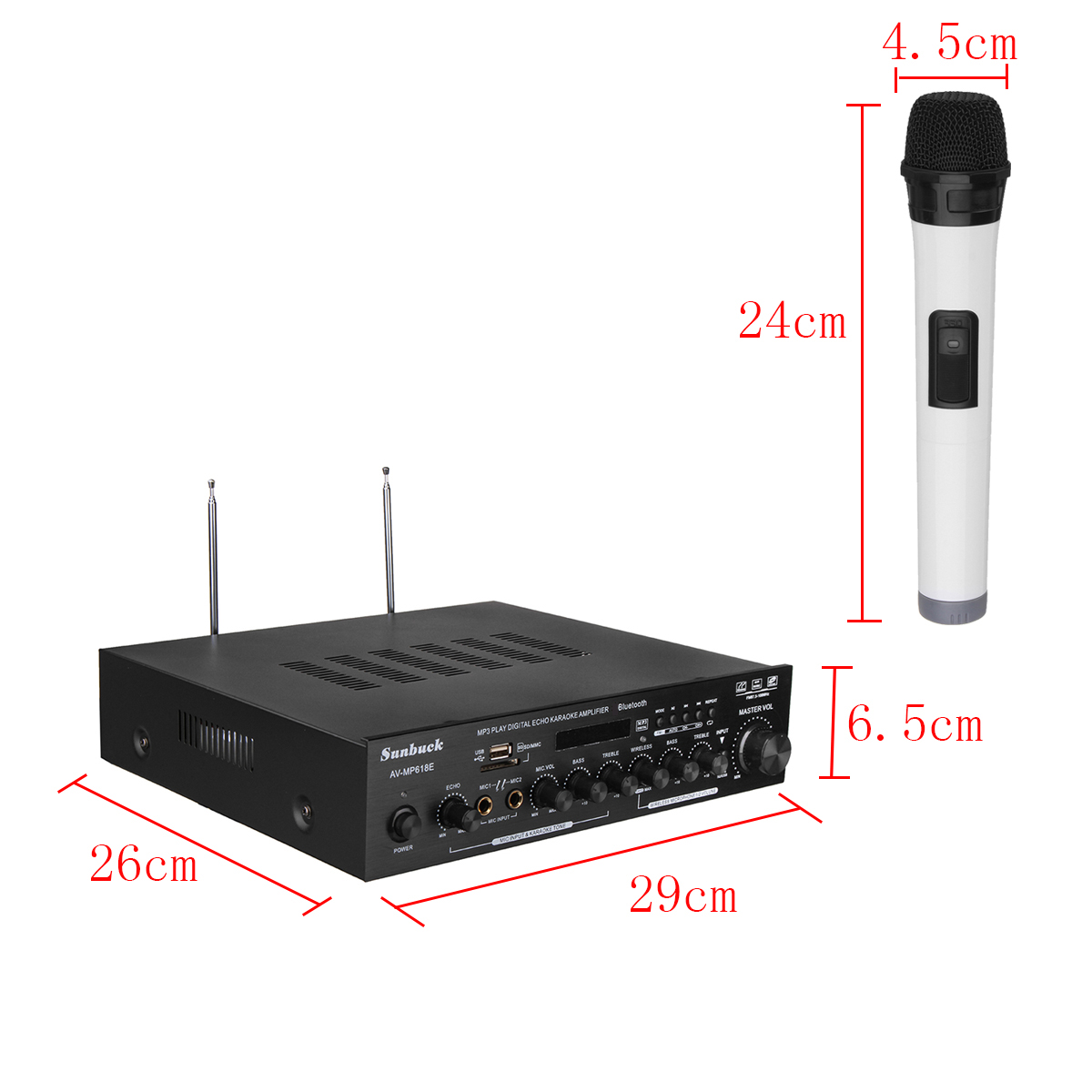 Sunbuck AV-MP618E 400W 2Ch bluetooth Digital Karaoke Amplifier Wireless Microphone Receiver System